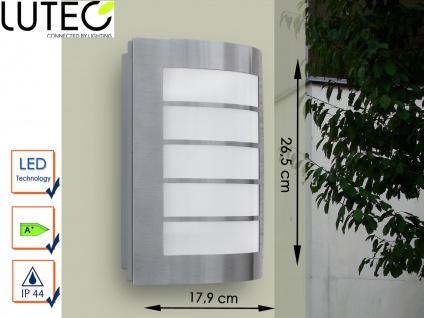 Edelstahl LED Außenwandleuchte IP44 H. 26, 5 cm Fassadenbeleuchtung Wegeleuchte