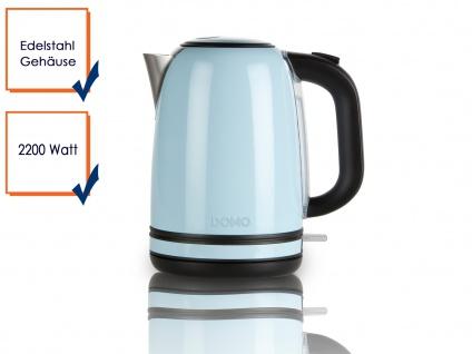 Retro Wasserkocher pastell Blau 2200W 1, 7 l Kontrollleuchte Edelstahl Teekocher