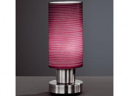 Tischleuchte mit brombeerfarbenem Glas, Fuß Nickel matt, Honsel-Leuchten