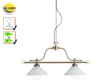2 flammige Landhaus Pendelleuchte Messing, Lampenschirme Glas, Esstischlampe E27