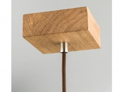 Schöne Pendelleuchte einflammig Holz Eicheoptik mit Lampenschirm aus Leinenstoff - Vorschau 3