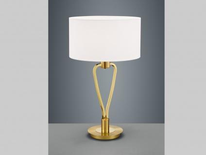 Klassische Tischlampe in Messing matt mit rundem Textil Schirm in weiß Flurlampe
