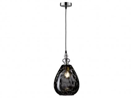 Pendelleuchte Silber matt Glas Rauchfarbig Ø 20cm E27 Hängeleuchte Wohnraumlampe