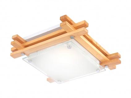 Globo Deckenleuchte EDISON Holz hell Glas, Deckenlampe Wohnraum Wohnzimmer Flur