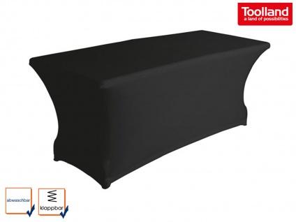 Robuster Klapptisch Kunststoff 180x75cm mit Stretch Husse - schwarz Gartentische