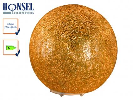 LED Kugel Tischleuchte Glas Goldfarbig craquele Ø 20cm Wohnraumleuchte Design