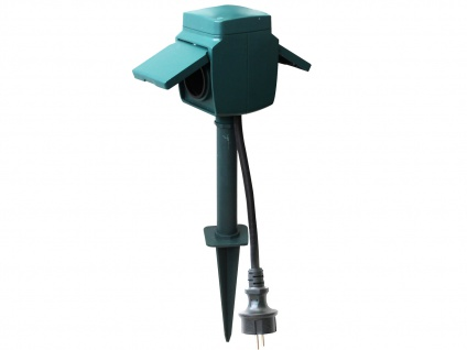 2-Fach Gartensteckdose mit Erdspieß, IP44, inkl. Kinderschutz Stromverteiler - Vorschau 2