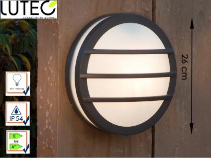 Design Außenwandleuchte Ø26cm Druckguss Aluminium IP54 E27 Fassung Wandleuchte