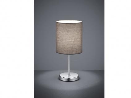 Klassische Tischleuchte JERRY 1 flammig Chrom Stoffschirm in Grau, 28cm hoch