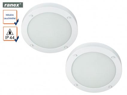 2er Set runde Deckenlampen weiß fürs Bad, Badezimmerlampen Beleuchtung Bad Decke