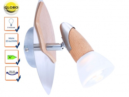 Globo Wandleuchte Wandstrahler LORD mit E14 LED, Nickel / Holz, Schirm satiniert