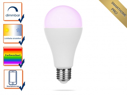 Intelligentes LED Leuchtmittel Smarthome PRO, dimmbar & RGB Farbwechsel per App
