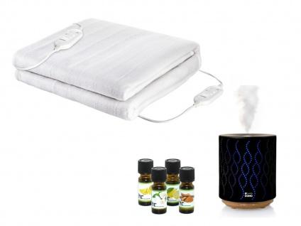 Wellness-Set: Elektrische 2 Personen Heizdecke + US-Duftzerstäuber mit 4 Ölen