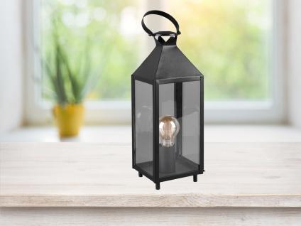 LED Tischleuchte Laterne schwarz Metall 13x13cm 46cm hoch für die Fensterbank - Vorschau 3