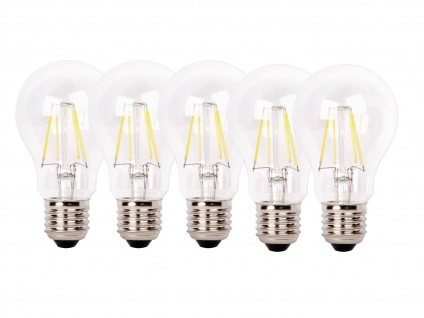 5er-Set FILAMENT-LED Birne E27, 4 Watt, 450 Lumen, 2700 Kelvin, warmw.