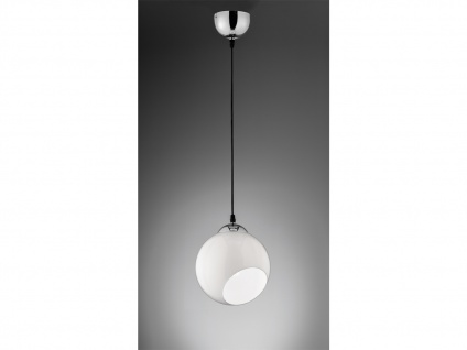 Designer Pendelleuchte LED Lampenschirm Kugelform Ø20cm aus Glas 1 flammig weiß