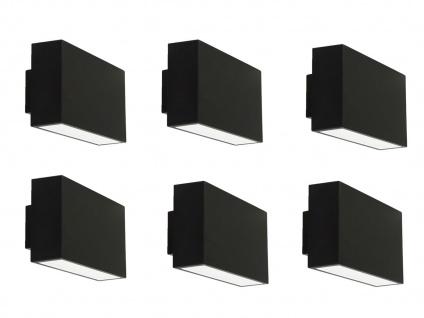 6er Set LED Außenwandleuchte EBONY, IP44, up&down light RANEX