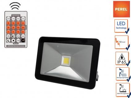 Perel 50W LED Strahler mit Bewegungsmelder und Fernbedienung, Außenwandleuchte