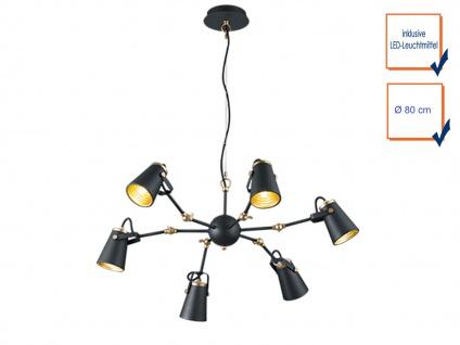 LED Hängeleuchte dimmbar, Metall in schwarz, 6 verstellbare Spots, Esstischlampe - Vorschau 3