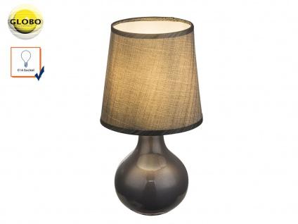 Tischleuchte VESUV grau braun, Keramik Lampenschirm Seide, Tischlampe klassisch