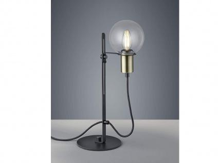Loft Tischlampe 47cm höhenverstellbar in schwarz/bronze, Glas transparent klar