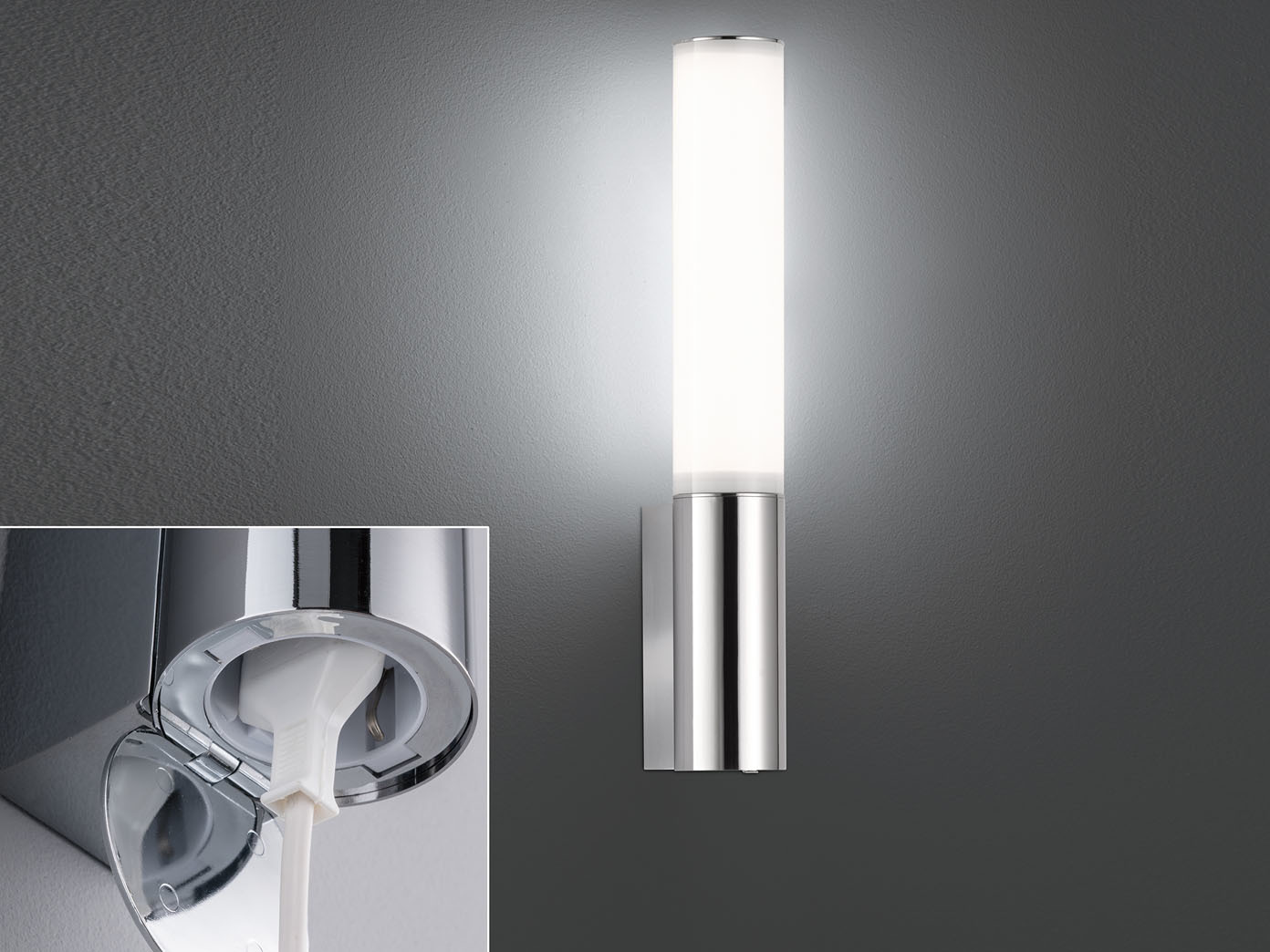 Led Badwandlampe Spiegelleuchte 39cm Mit Steckdose Ip44