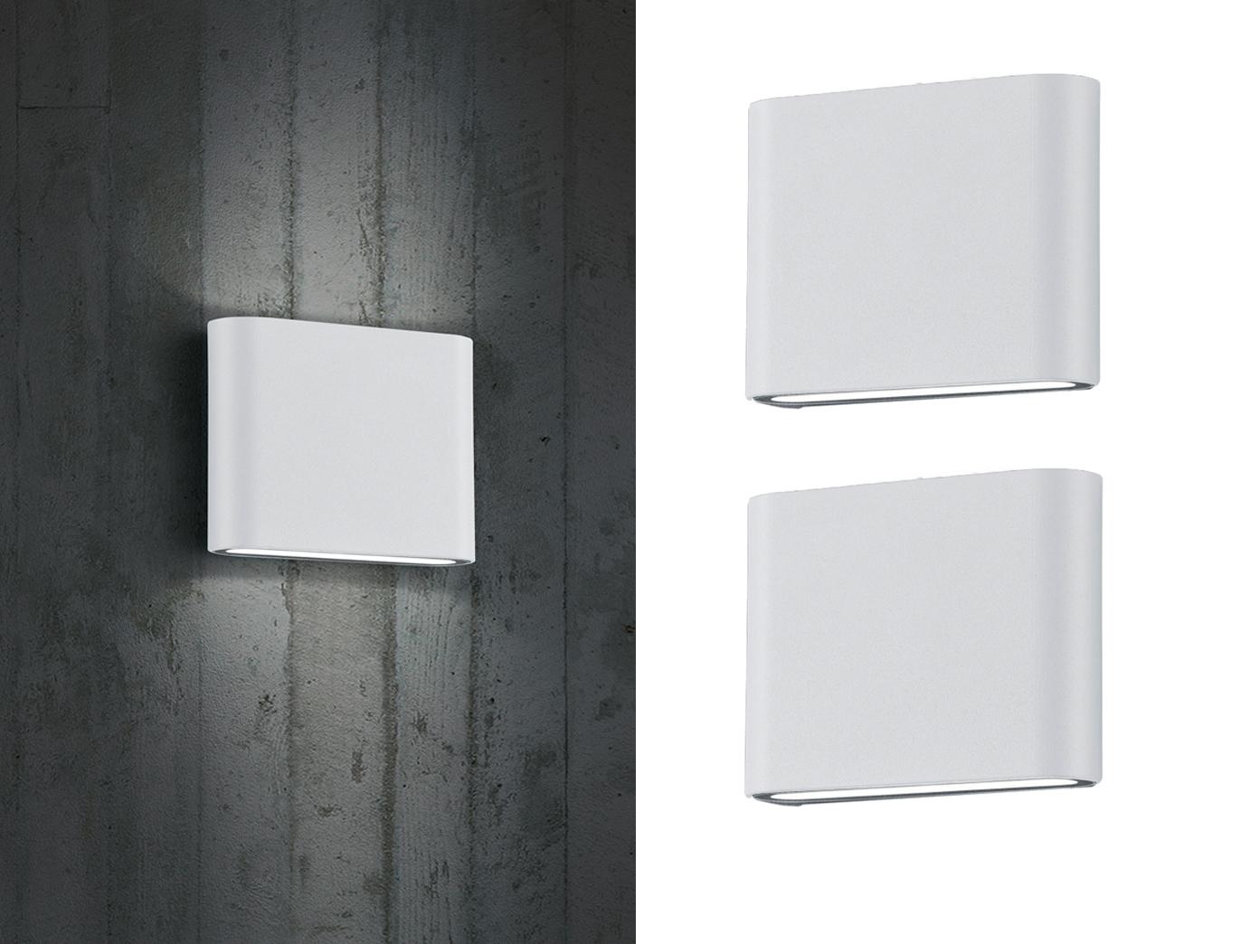 LED Außenwandleuchten 2er SET Up and Down weiß - Wandlampen für Hauswand Außen
