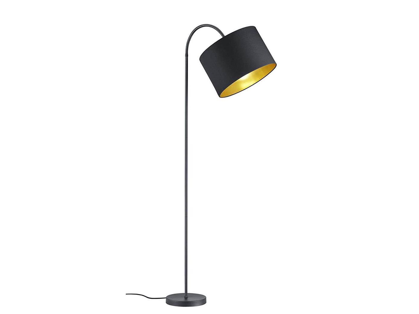 Flexible Standleuchte 156cm hoch mit Stoff Lampenschirm Ø35cm in schwarz//gold