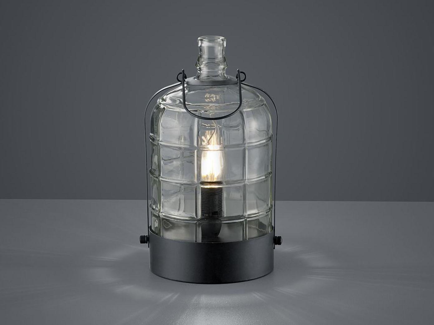 Tischlampe Glas Nachttischlampe Vintage Tischleuchte Design schwarz mit LED