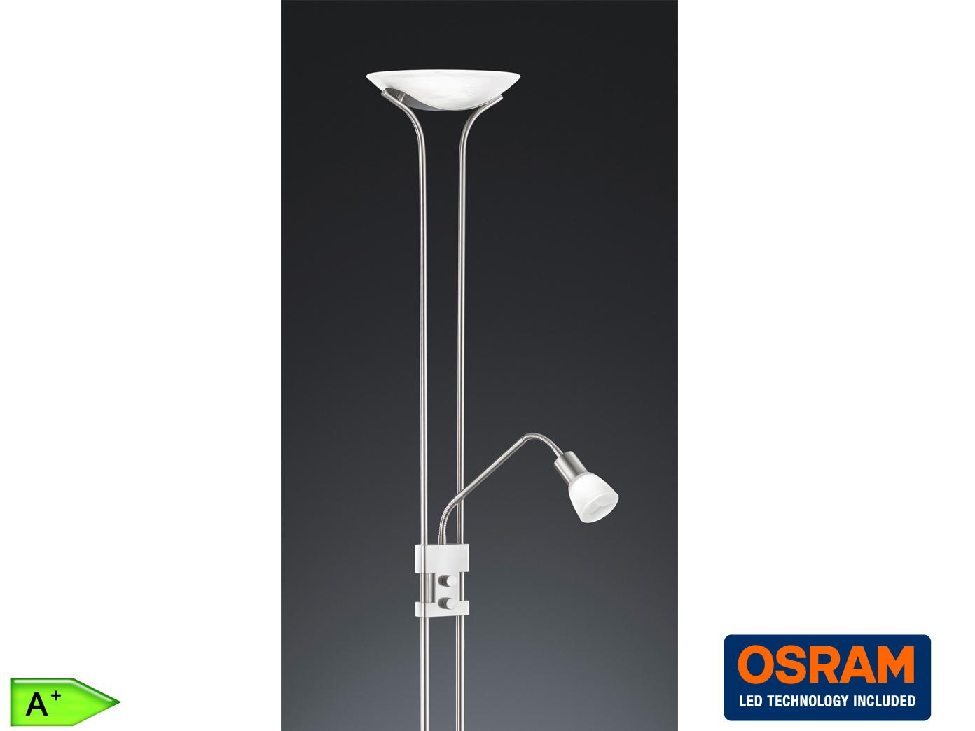 H 180cm Lesearm Messing Glas Weiß Trio Eco Halogen