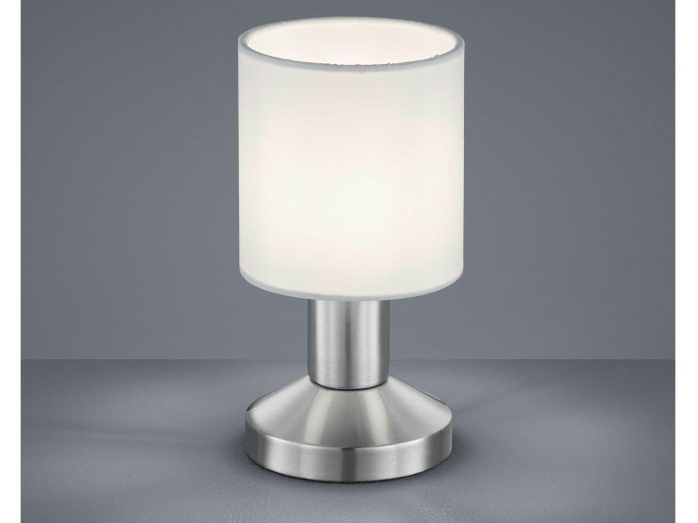 2er Set Tischleuchten Touch Lampenschirm Stoff weiß Tischlampe Nachttischlampe
