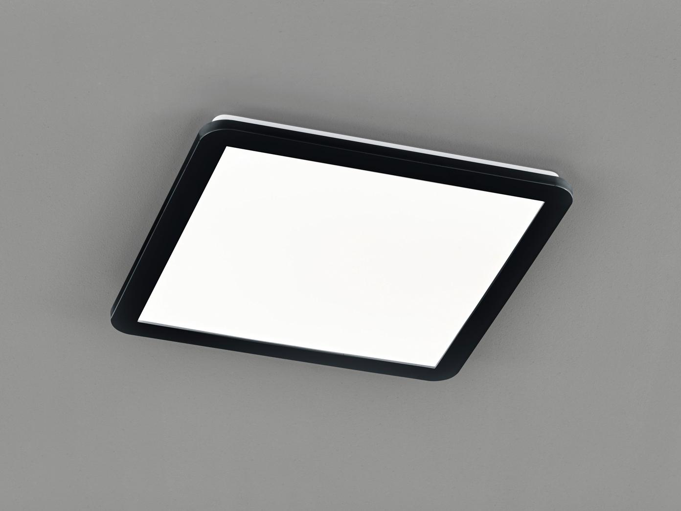 LED Deckenleuchte CAMILLUS flache Badezimmerlampe eckig 20x20cm Schwarz IP20