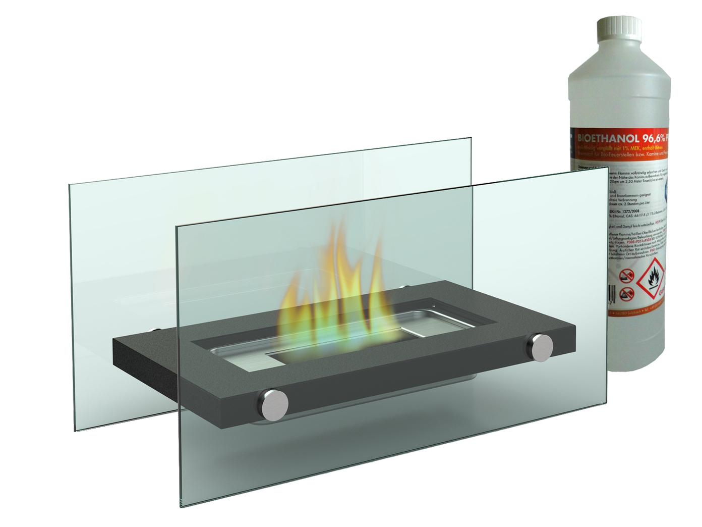 Gut bekannt Luxus Tischkamin + 1Liter Bio Ethanol Tischfeuer Glaskamin Kamin TL46