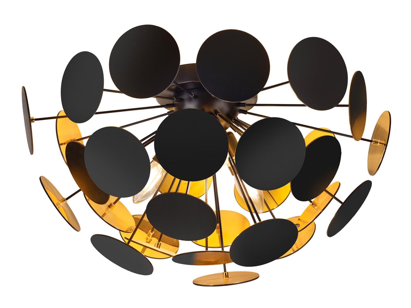 Edle LED Deckenleuchte Lampenschirm Schwarz matt / Gold Ø 8cm -  Wohnzimmerlampe - yatego.com
