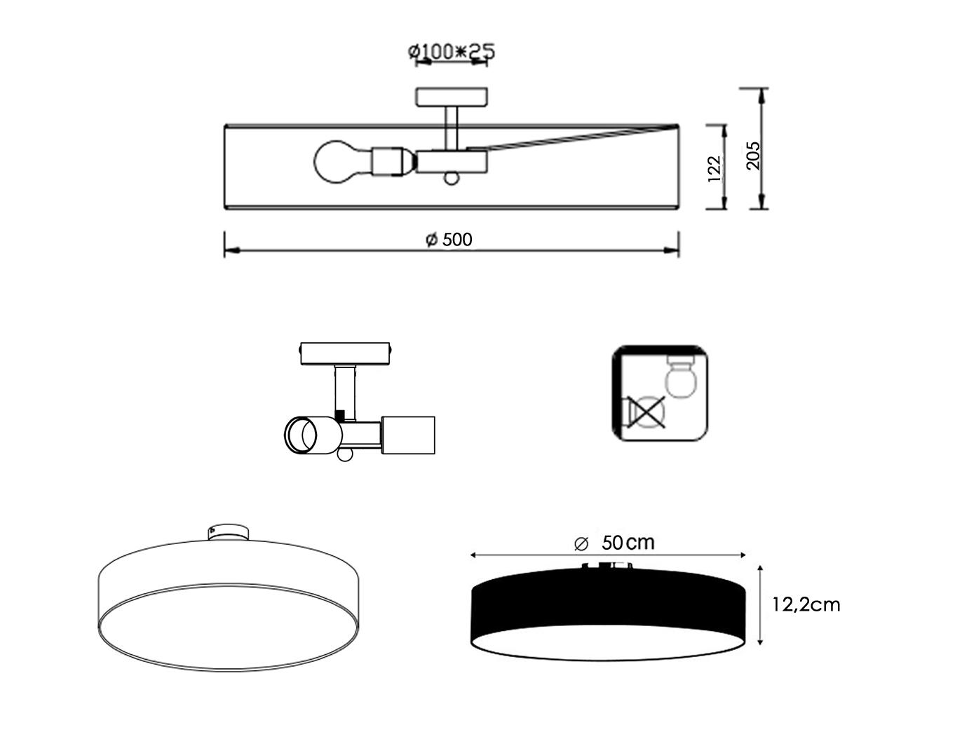 Trio Design Led Deckenleuchte Rund 50cm Stoff Schirm