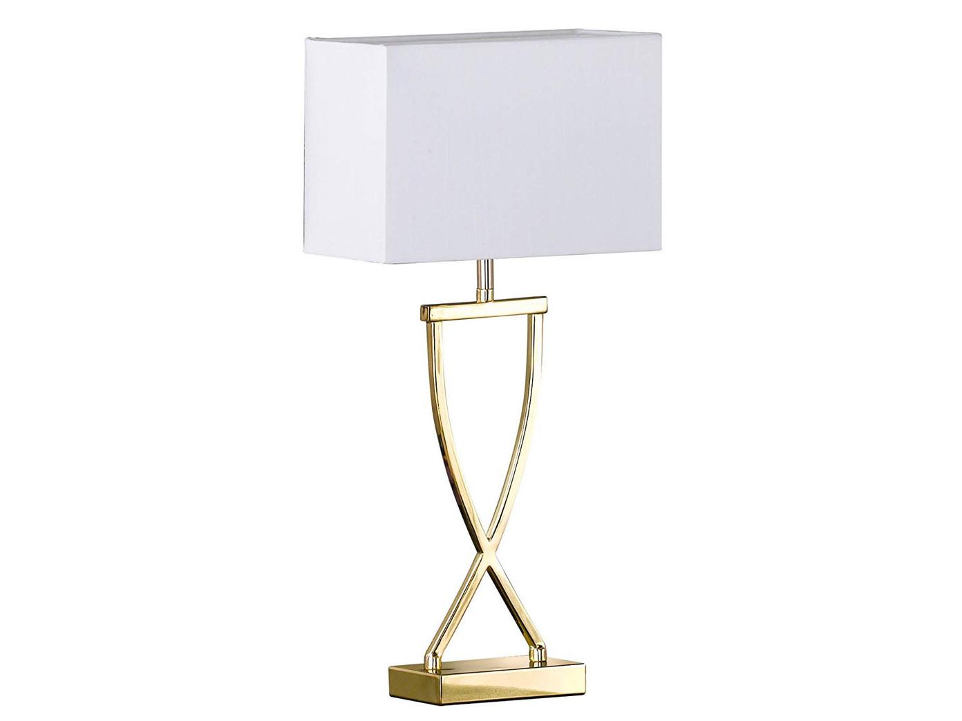 Tischleuchte mit Stoff Textil Lampenschirm Braun Nachttischlampe Stoffschirm