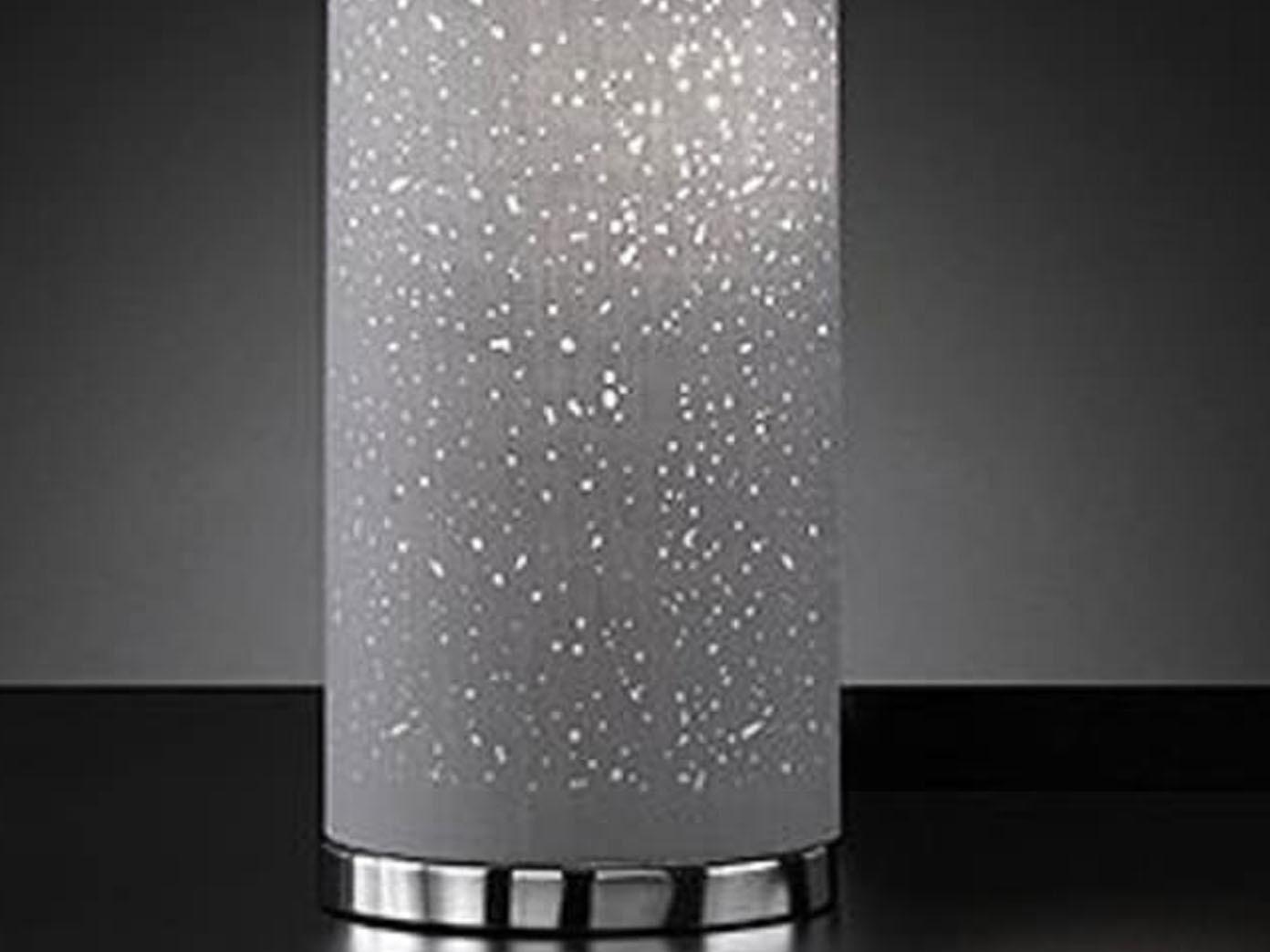 grosse honsel stehleuchte chrom lampenschirm stoff grau