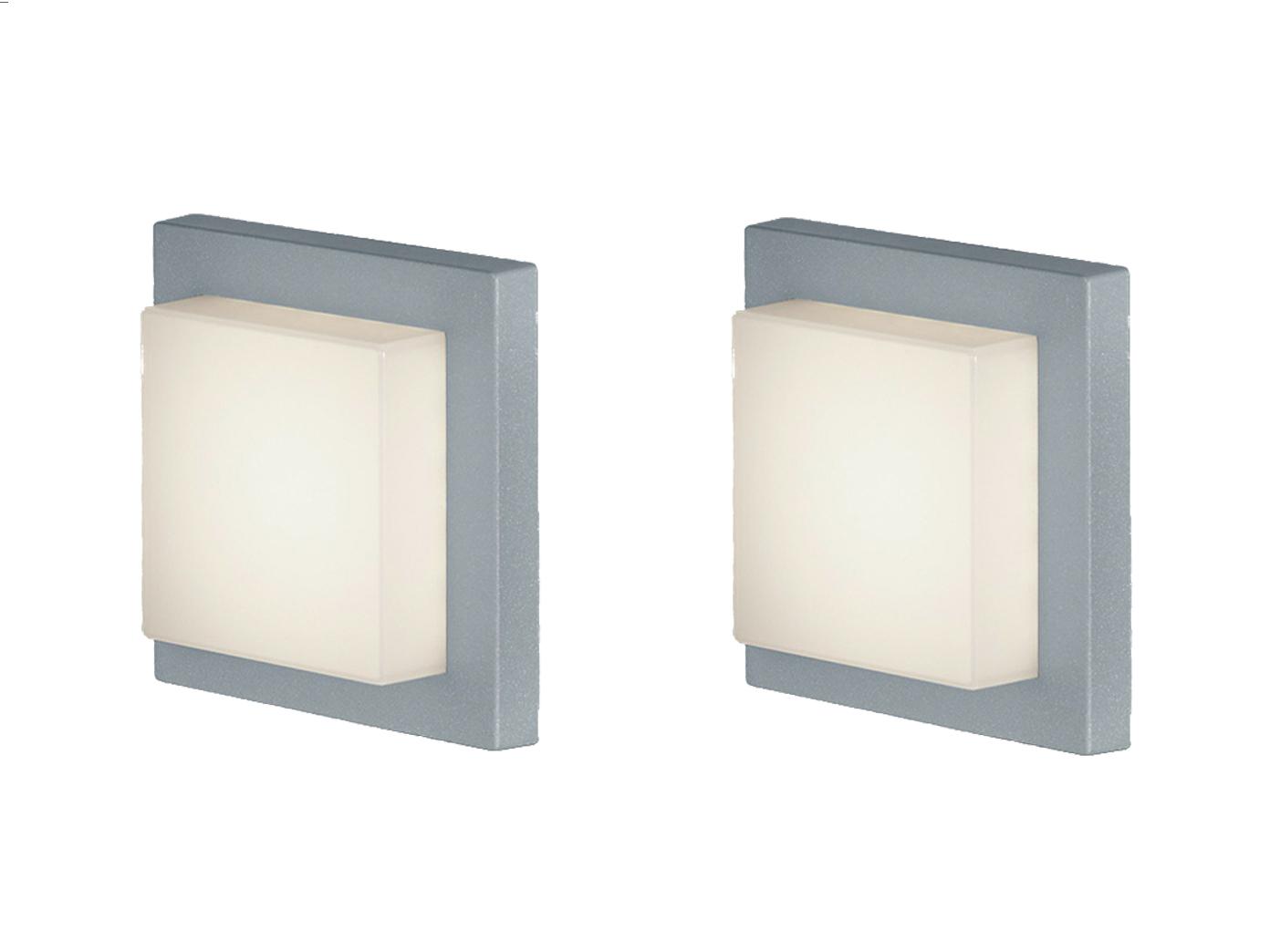Eckige Led Außenwandlampe In Grau 2 Außenleuchten Für Hauswand Außenbeleuchtung