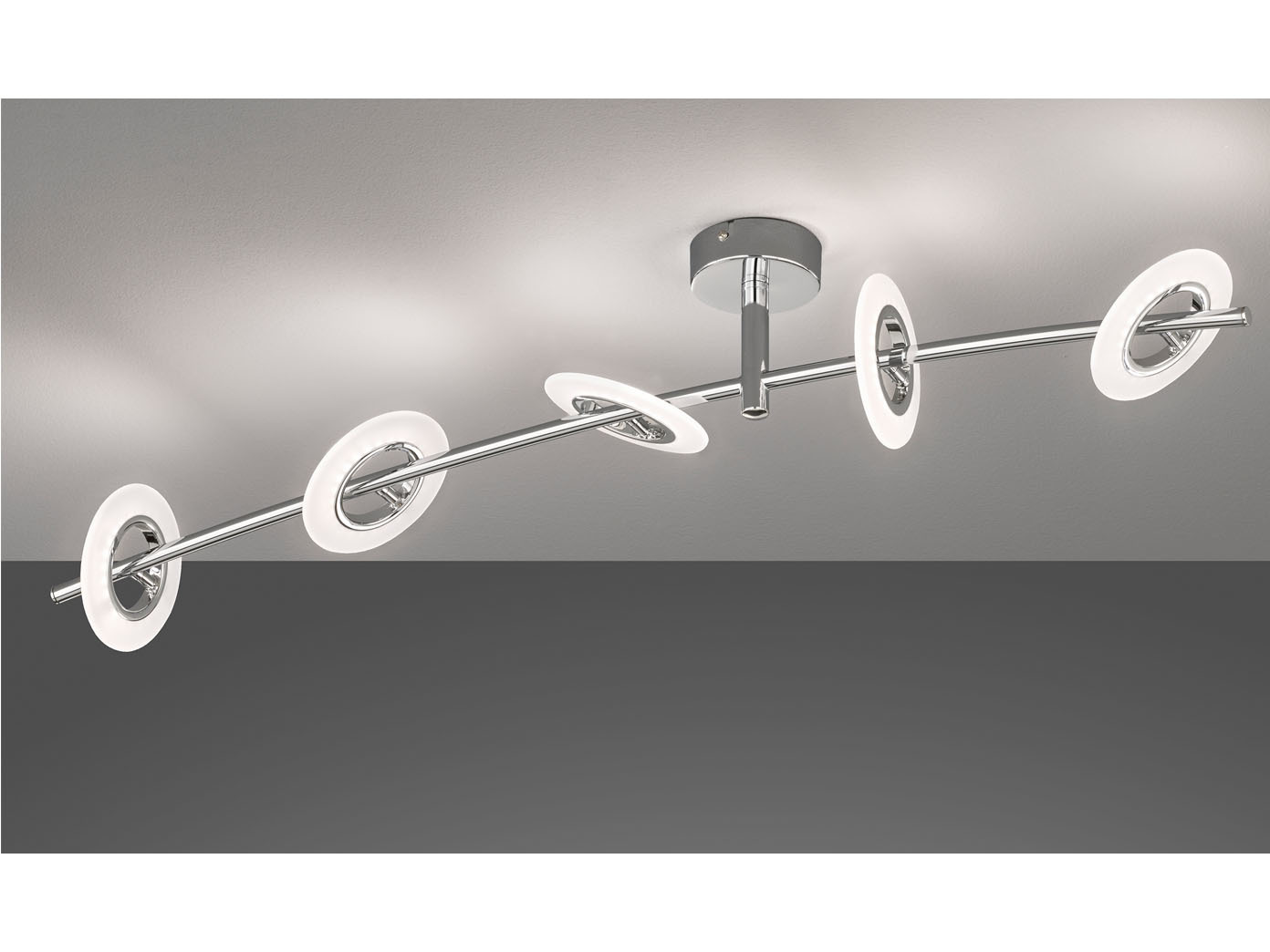 Dimmbare LED Deckenleuchte BAMBUS 8flammig, Metall chrom, Wohnzimmerlampe  Design