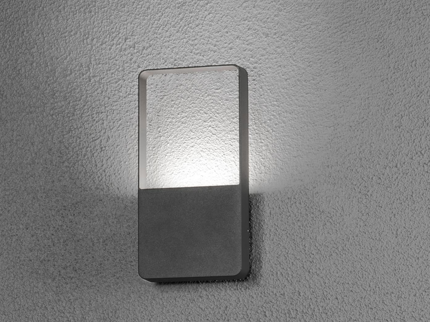 Flache Eckige Led Außenleuchte Aluminium Anthrazit 6w Fassadenleuchten Hauswand