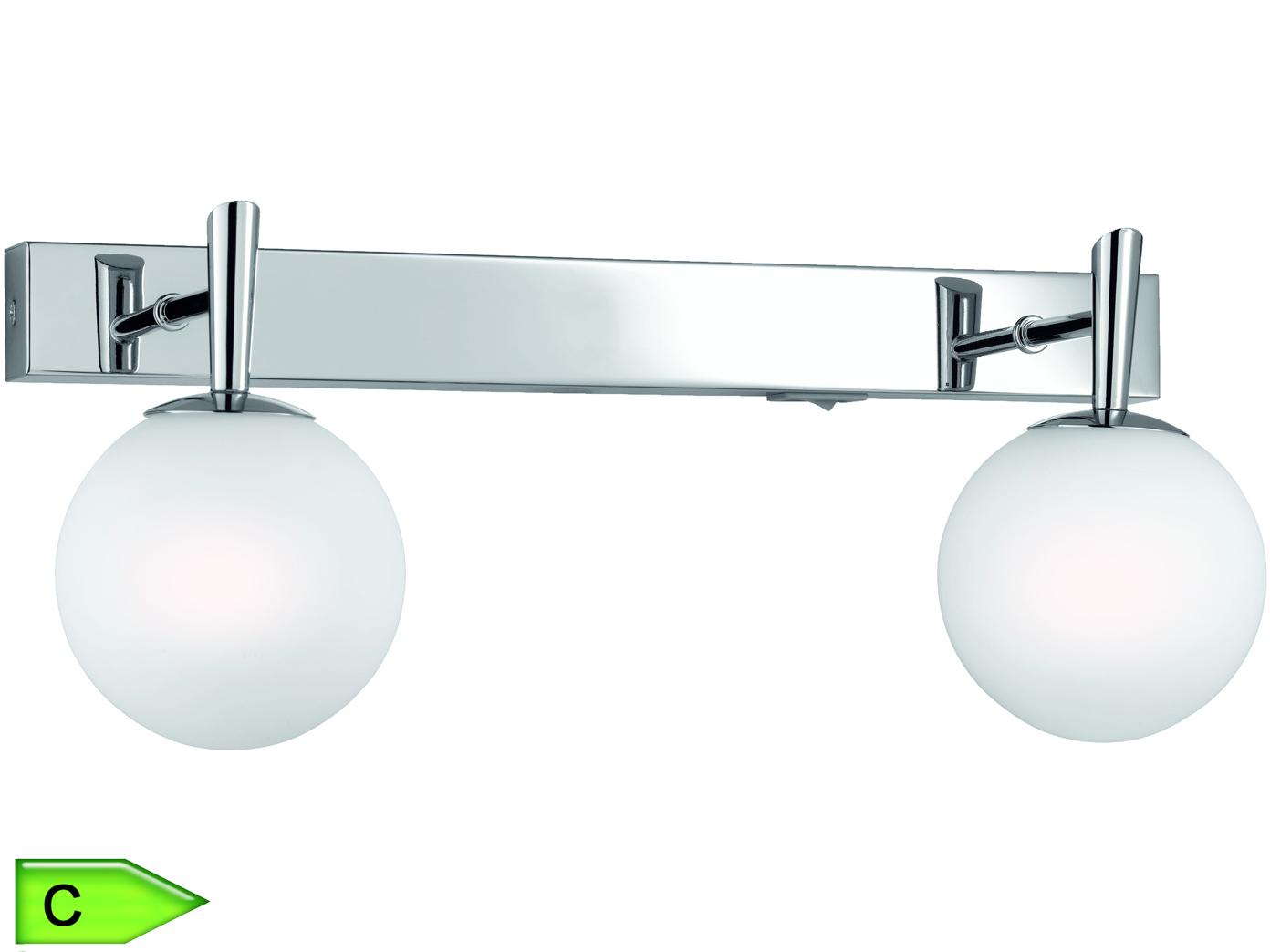Badezimmer-Balken, 2 x 28W/G9, Länge 37cm, Schalter, Chrom/weiss