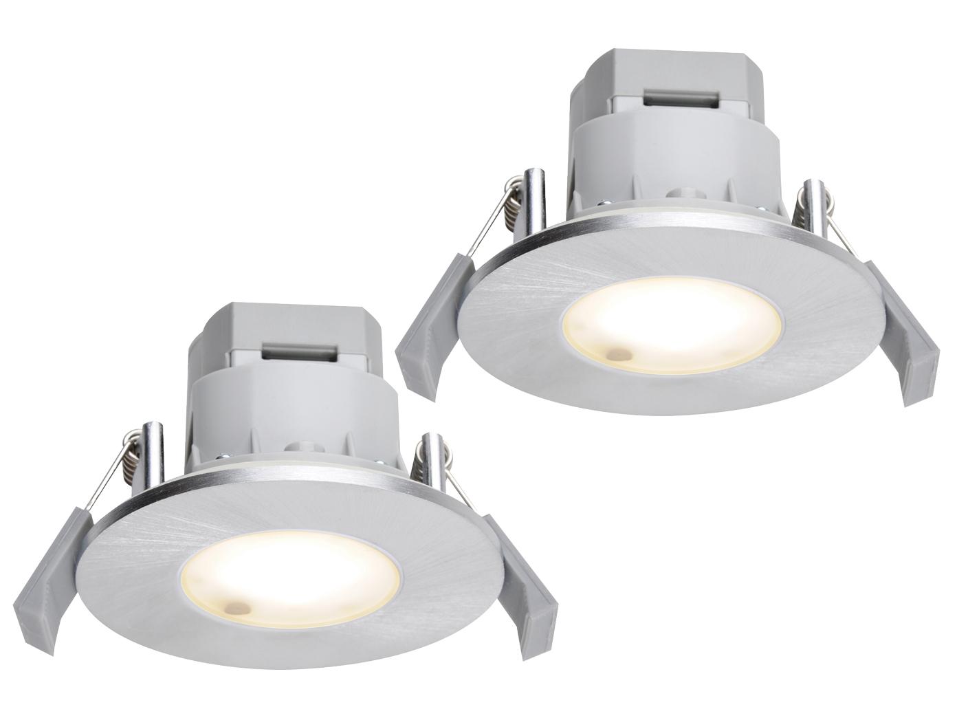 Led Einbaustrahler Decke 2er Set Rund Aluminium Gebürstet 5 5w Ip65 Badlampen