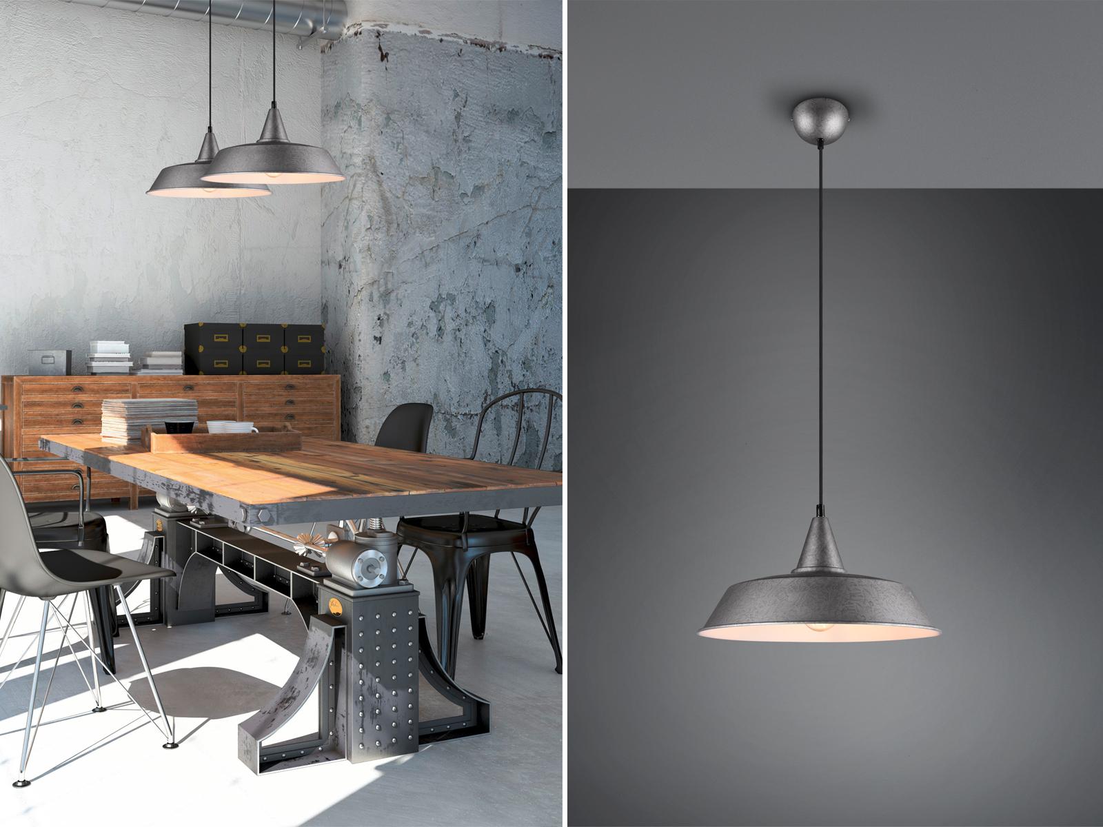 Dimmbare LED Pendelleuchte Retro 1flammig Metall Silber matt Lampenschirm Ø 35cm