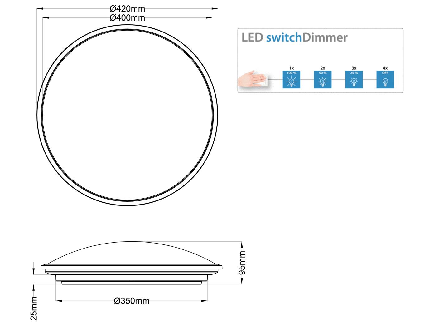 Schlafzimmer Runde LED Deckenleuchte mit Switch-Dimmer Ø 21cm weiß Sternhimmel