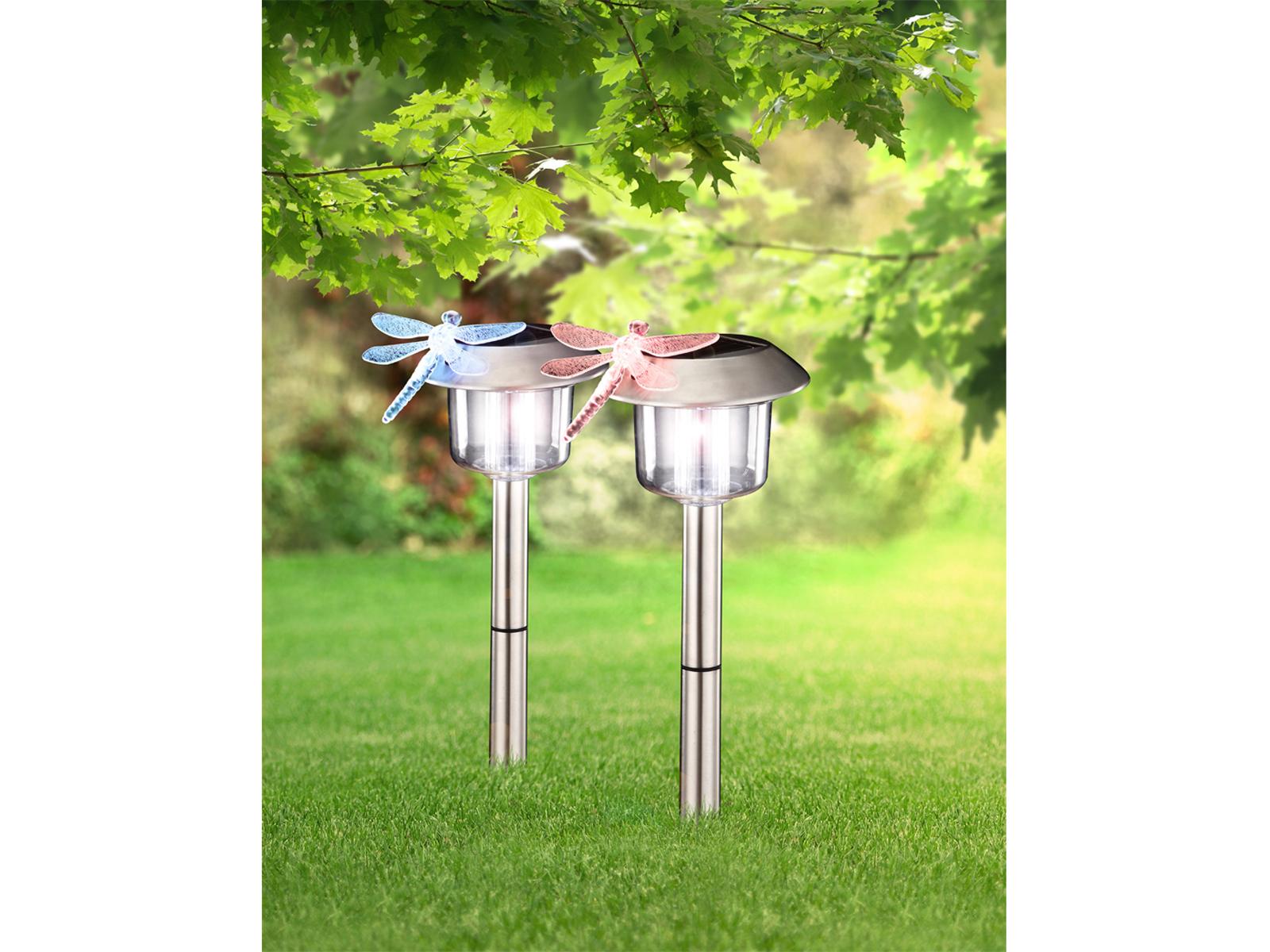 Gartenlampen 2Stk LED Erdspießleuchten Solarleuchten Edelstahl mit Farbwechsel