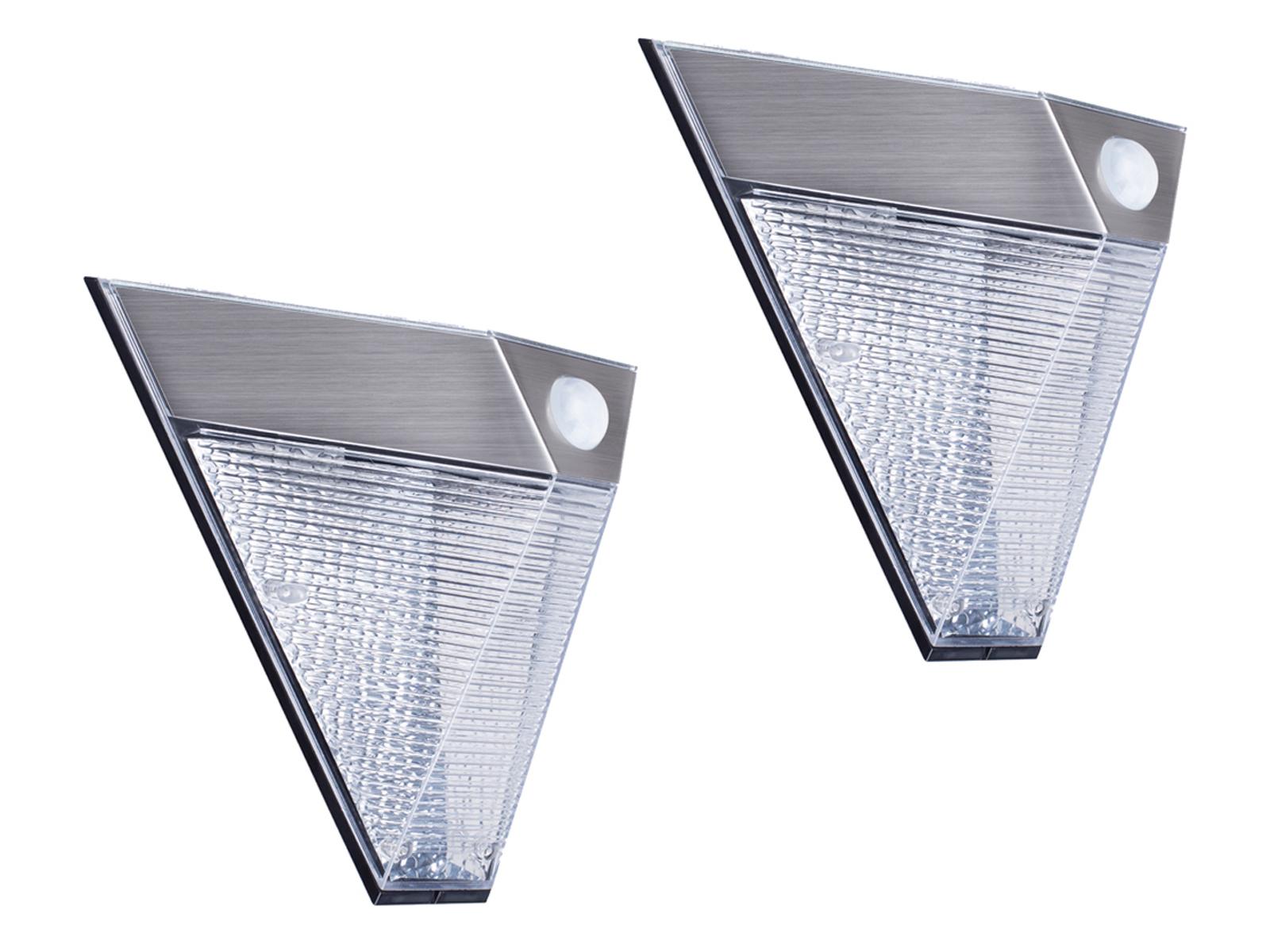 2x LED Solar Außenleuchte Bewegungsmelder Edelstahl dreieckig Downlight außen