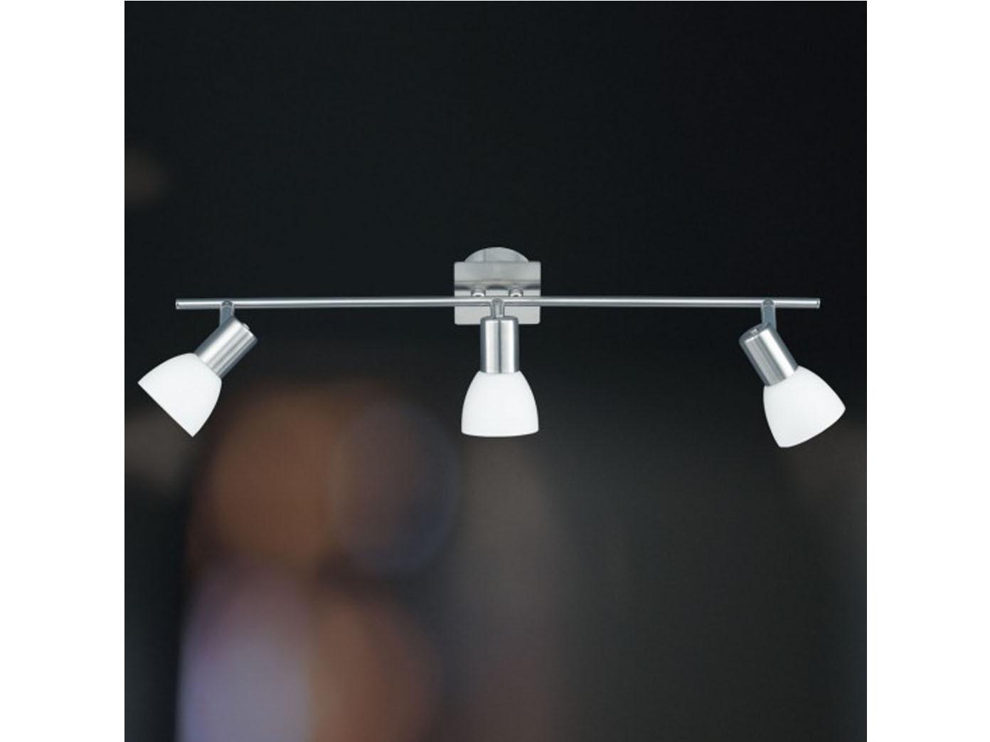 Nickel // Glas Deckenstrahler schwenkbar Wofi-Leuchten 3-fl