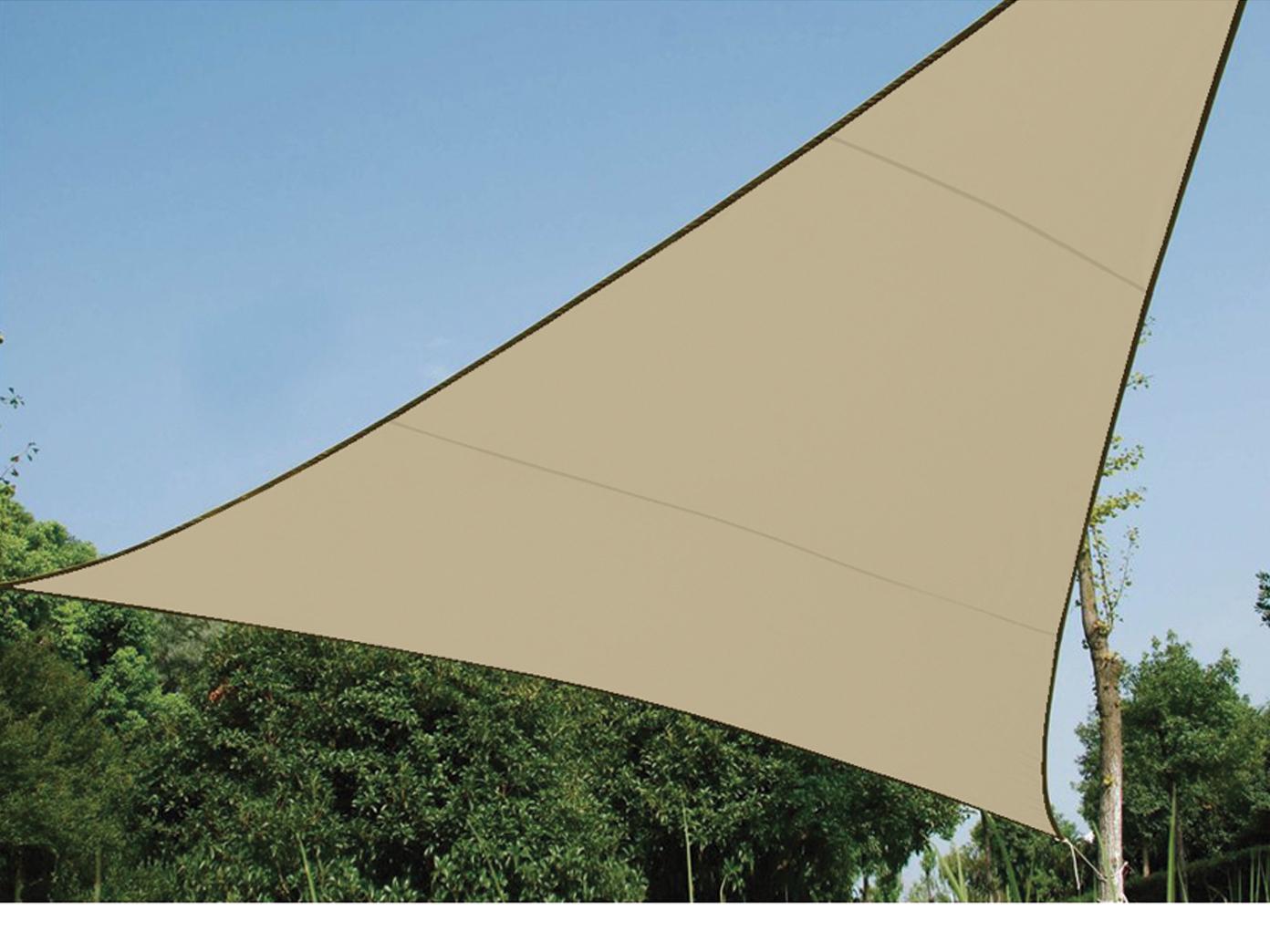 sonnensegel dreieck champagner 3 6m mit stangen. Black Bedroom Furniture Sets. Home Design Ideas