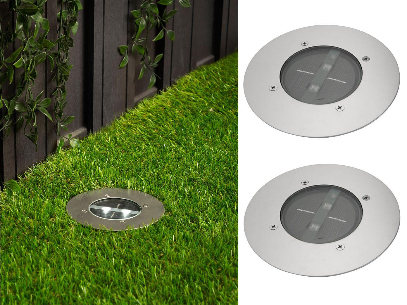 Häufig 2er Set Solar Einbaustrahler Außen rund mit Tag/Nacht Sensor WO63