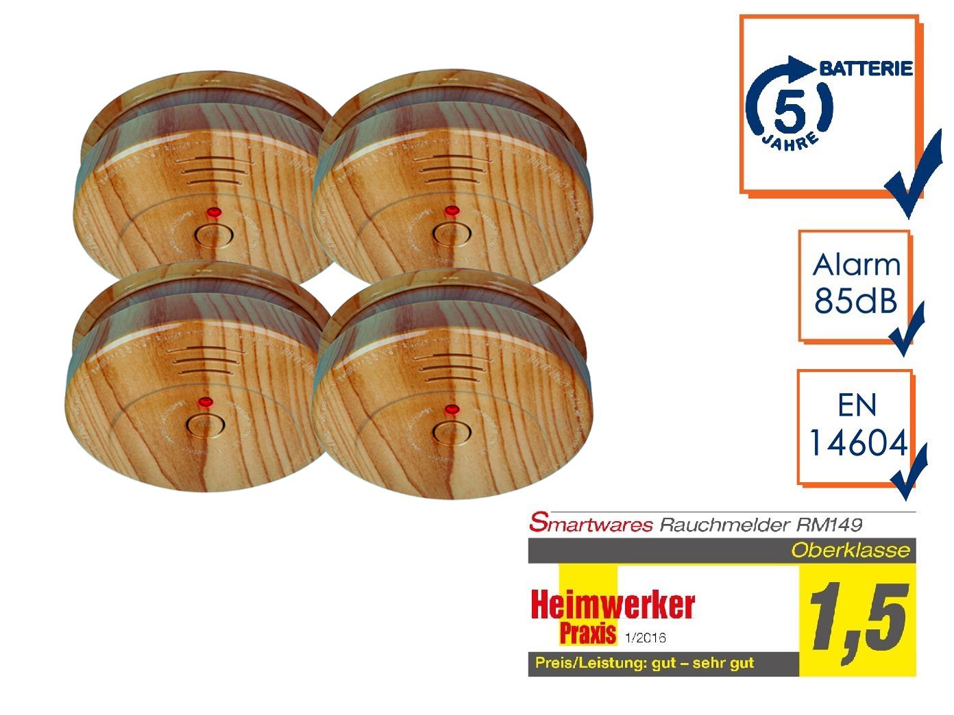 Alarm Feuer 10er SET Brand-Melder Holzoptik 5 Jahres Batterie EN14604 geprüft